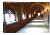 Cloistered Corridor, Canvas Print