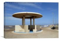 A Shelter on Cleveleys Promenade., Canvas Print