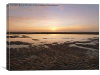 Sunset over Cleveleys Beach. , Canvas Print