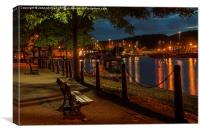 The bench on the docks., Canvas Print