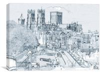 York, in pen and ink, Canvas Print