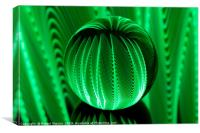 Abstract art Green waves in crystal  ball, Canvas Print