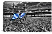 Deck chairs and pier, Canvas Print