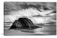Goscar Rock Tenby in Monochrome, Canvas Print