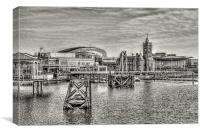 Over Cardiff Bay Mono, Canvas Print