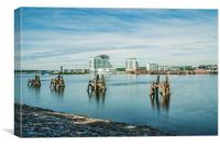 Cardiff Bay Towards St Davids Hotel Long Exposure, Canvas Print