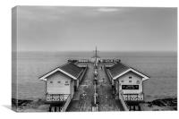 Penarth Pier Black and White, Canvas Print