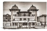 The Pavilion Penarth Pier Mono, Canvas Print