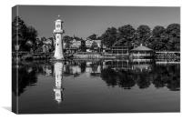 Roath Park Lake Black and White, Canvas Print
