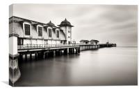 Three Minutes At Penarth Pier Mono, Canvas Print