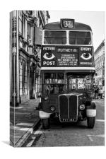 The Bus To Putney Monochrome, Canvas Print