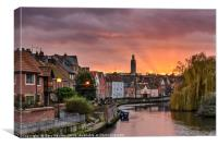 Norwich Quay Sunset, Canvas Print