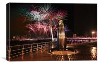 New Year Fireworks, Swansea., Canvas Print