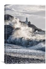 Mumbles Lighthouse Waves., Canvas Print