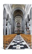 aisle inside St Martin's Cathedral Ypres, Canvas Print