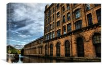 part of  salts mill over  leeds liverpool canal, Canvas Print