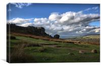 ilkley. moor .cow. and. calf. rocks. west.. yorksh, Canvas Print