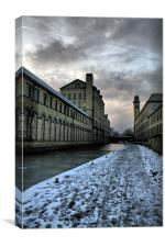salts mill icey cold walk a long leeds liverpool c, Canvas Print