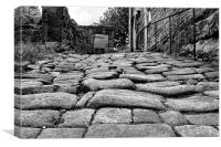 cobbled street in Heptonstall, Canvas Print