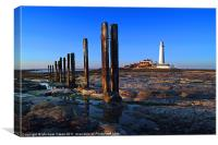 St. Mary's Lighthouse, sunset., Canvas Print