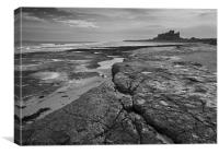 Bamburgh castle and coast No4, Canvas Print