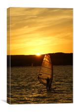 Sunset Exmouth Bay Kite surfing., Canvas Print