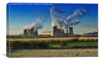 Over the Trent to West Burton Power Station, Canvas Print