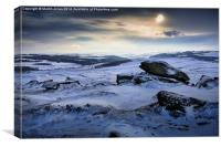 Low winter sun over Higger Tor, Canvas Print