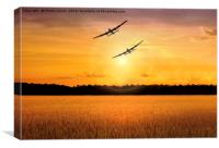 Canadian and British Lancaster Bombers Together, Canvas Print