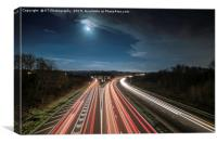 Motorway Sign Coming up in the Morning Light, Canvas Print