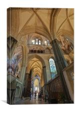 Salisbury Cathedral South Aisle, Canvas Print