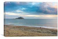 St Michael's Mount, a Dog and a Drone at Sunset, Canvas Print