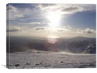 Coniston Old Man summit Christmas Day, Canvas Print
