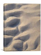 Water moulded sand on shore, Canvas Print