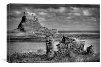 Lindifarne Castle (Holy Island) in Mono, Canvas Print