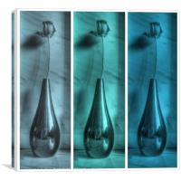 Rose Triptych in Blue, Canvas Print