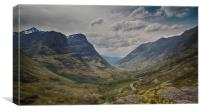 Down Glencoe Pass, Canvas Print