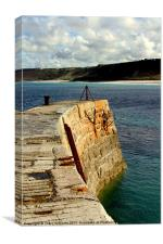 Sennen Cove harbour wall, Canvas Print