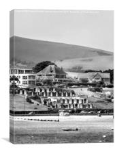 Swanage Beach Huts, Black And White, Canvas Print
