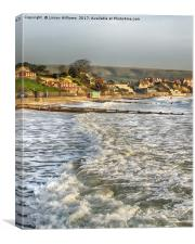 Rough Seas on Swanage Beach, Dorset, Canvas Print