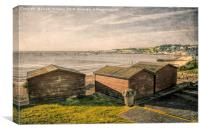 Swanage Beach huts and the Bay, Canvas Print
