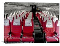 Seats inside Vickers Viscount Airplane, Canvas Print