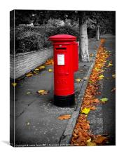 A Postbox in Autumn, Canvas Print