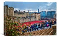 Crowds at Tower of London , Canvas Print