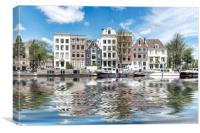 Canal Reflection in Amsterdam, Canvas Print