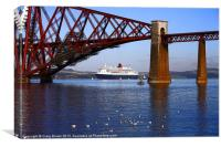 Queen Mary2 at Forth Bridge, Canvas Print