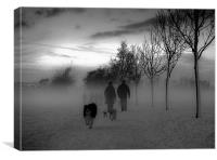 Dog walkers in the winter mist, Canvas Print