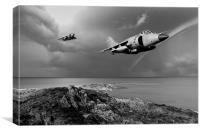 Sea Harriers over the Falklands BW, Canvas Print