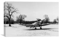 Spitfire in the snow black and white version, Canvas Print