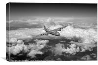 Canberra over the Med black and white version, Canvas Print